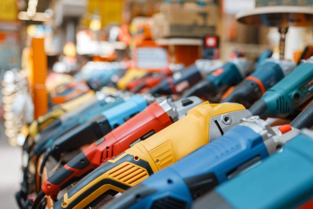 A deep product assortment example – many different brands and styles of power tools